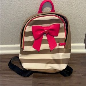 Pink white and beige betsey Johnson mini backpack